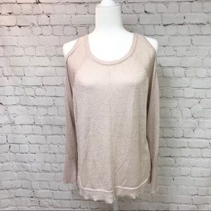 Vince Camuto Metallic Cold Shoulder Sweater Sz Lg